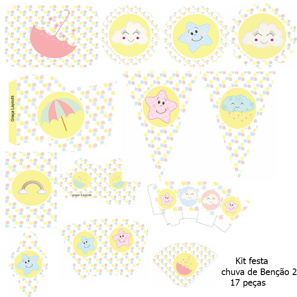 Kit festa Chuva de benção 2 - Graça Layouts Design