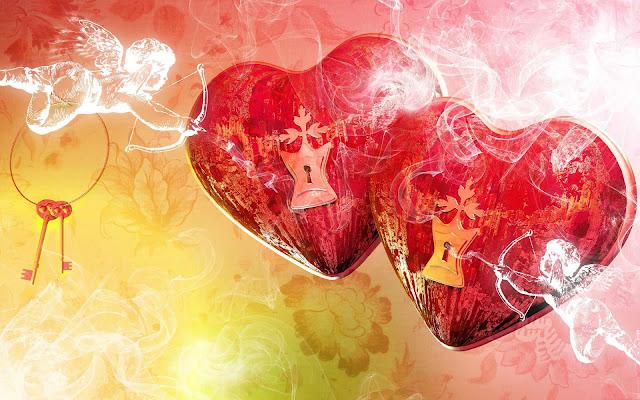 Mooie rode liefdes hartjes wallpaper met sleutel en slot