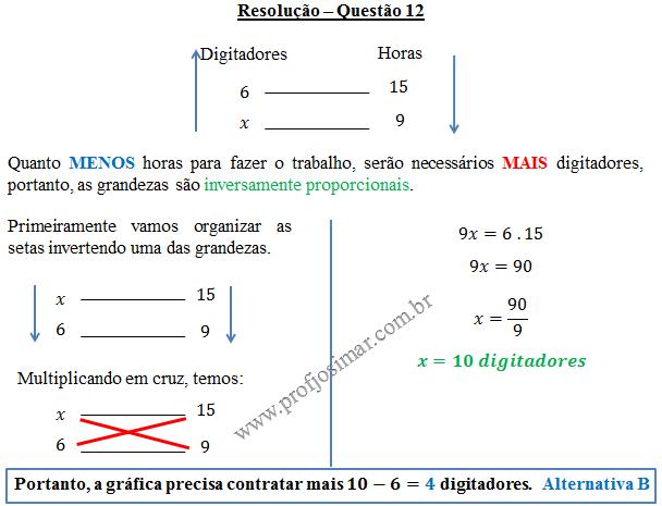 Questão 12 - Regra de três simples