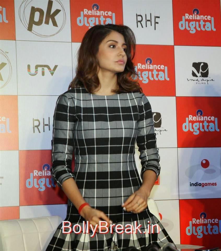 Anushka Sharma Photo Gallery with no Watermarks, Anushka Sharma Hot Pics In check dress from PK Mobile Game Launch