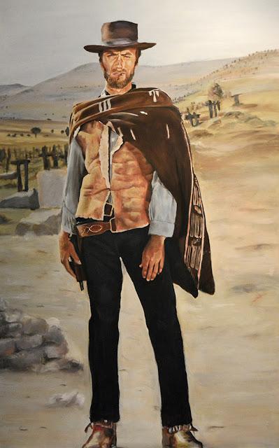 """Retrato de Clint Eastwood en """"El Bueno, el Feo y el Malo"""""""