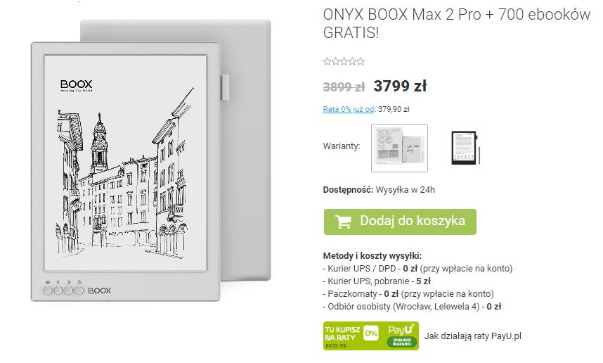 Onyx Boox Max 2 Pro w czytio.pl