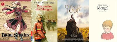 Bride stories / Kaoru Mori/ Prisonnière des mongols/ Evelyne Brisou-Pellen/ Le dernier Loup J.J Annaud