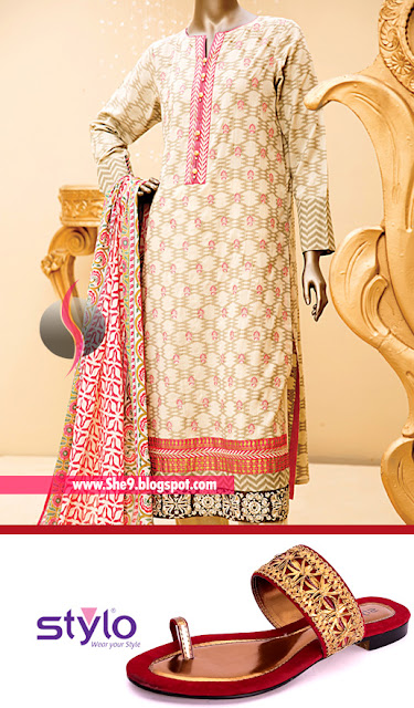 Junaid Jamshed Lawn Dress with Stylo Formal Chappal