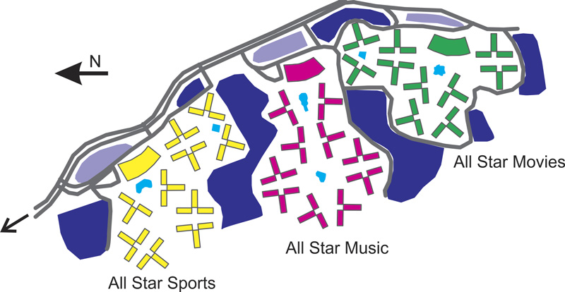 Mapa esquemáticos dos Disney's All Star Resorts em Orlando
