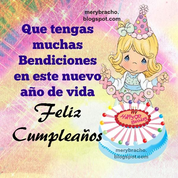 dfea3518130db Tarjeta de cumpleaños con bendiciones y bonita imagen. Mensaje cristiano de