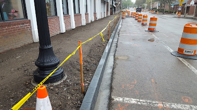 new curbing in advance of new sidewalks in downtown Franklin