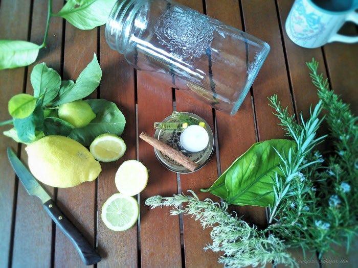 limón, canela, hierbas aromáticas, reciclamos un tarro de vidrio