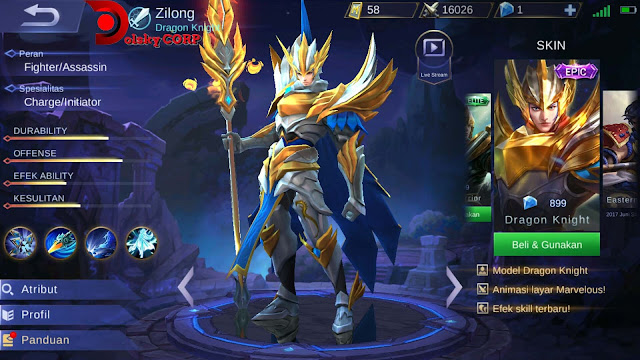 Mobile Legends : Hero Zilong ( Dragon Knight ) Burst Damage Builds Set up Gear