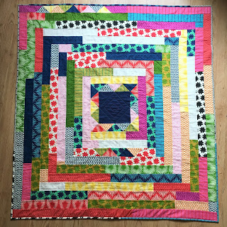 Flat shot of whole bright quilt