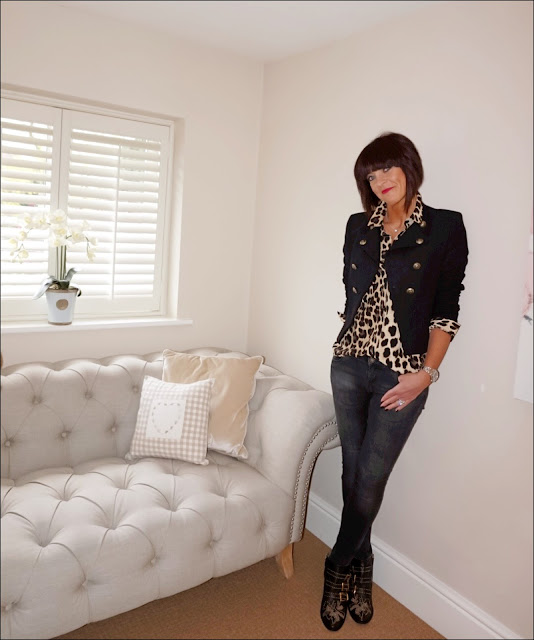 My Midlife Fashion, zara military jacket, zara leopard print shirt, animal print shirt, zara skinny jeans, chloe susanna studded boots, charlotte tilbury the queen lipstick