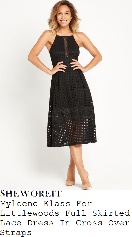 myleene-klass-myleene-klass-for-littlewoods-black-sheer-grid-check-and-floral-lace-overlay-sleeveless-cami-strap-cut-away-shoulder-ladder-panel-detail-full-skirt-midi-dress