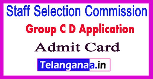 SSC Stenographer Group C D Application Admit Card 2017