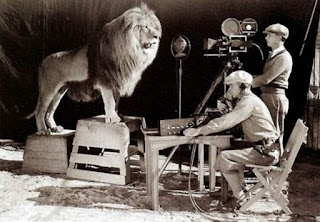 Filming the production logo for MGM