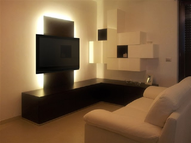 Modern Corner Tv Units For Living Room With Storage Black And White Wooden
