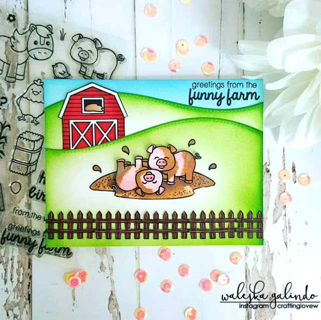 Sunny Studio Stamps: Barnyard Buddies Pigs on the Farm Card by Waleska Galindo