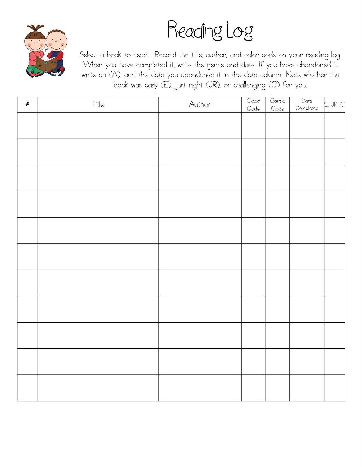 Reading Log Template – Reading Log Worksheets