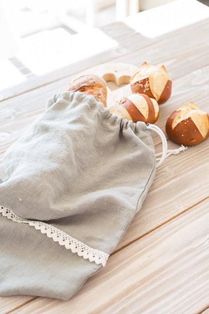 Brotbeutel aus Leinen,selbst genäht