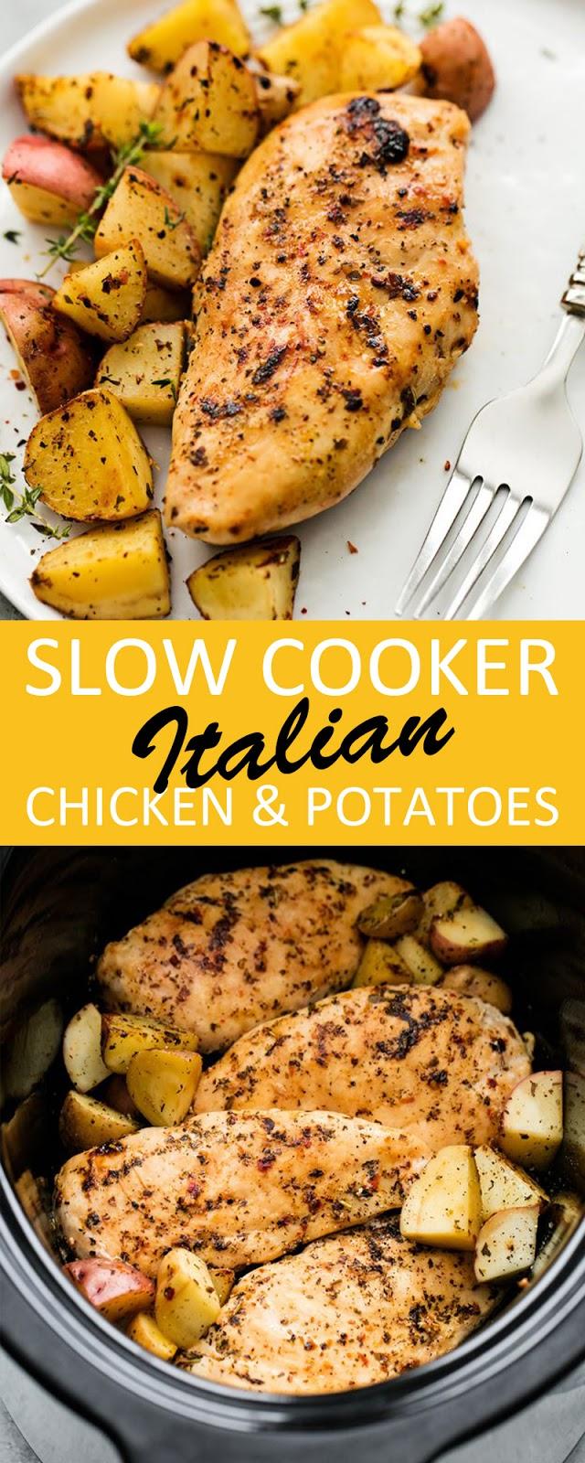 SLOW COOKER ITALIAN CHICKEN & POTATOES