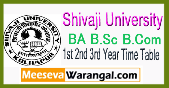 Shivaji University BA B.Sc B.Com 1st 2nd 3rd Year Time Table Oct Nov 2017