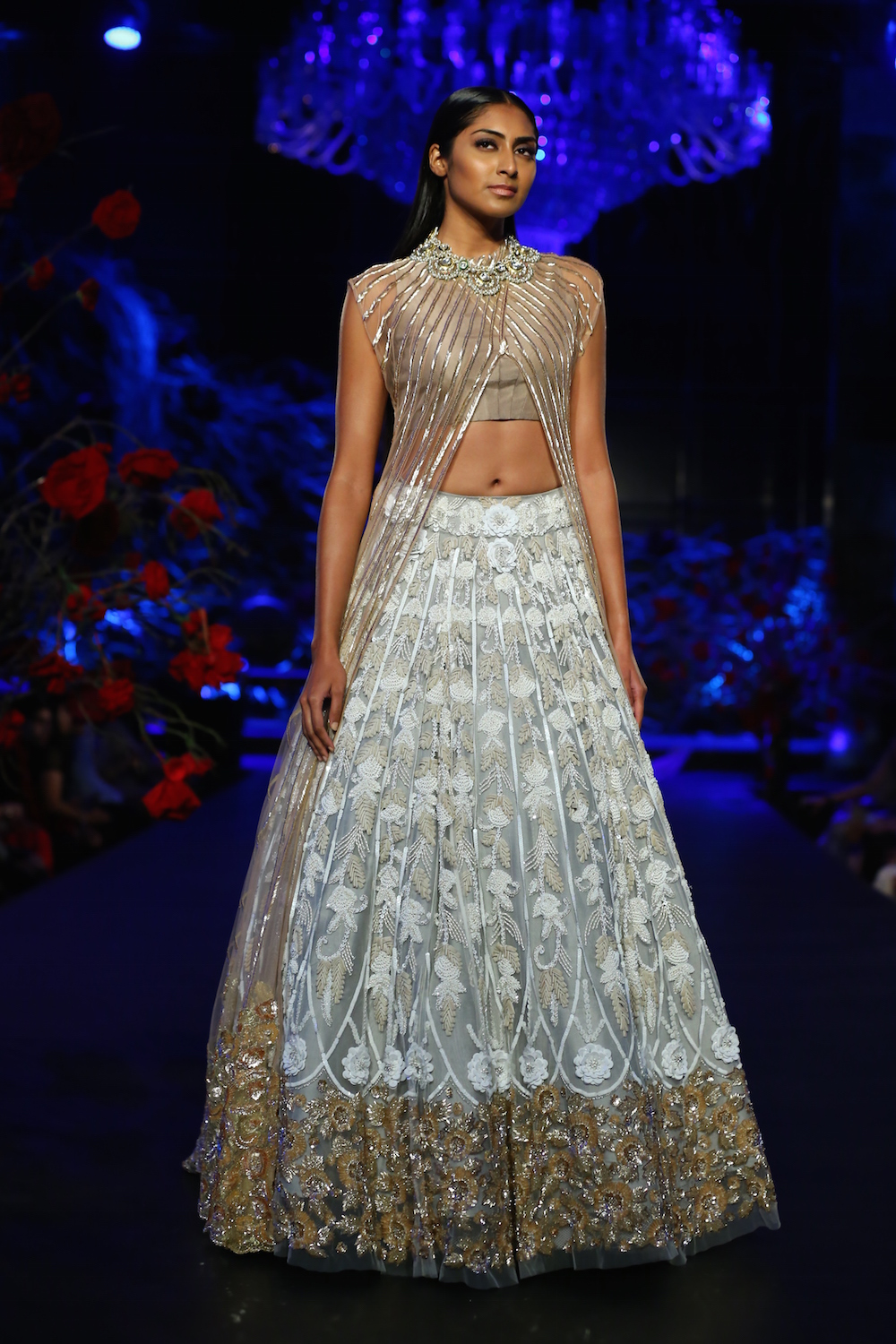 manish malhotra india amazon week couture lehenga crop skirt sheer heavy jacket silver pink embroidered bridal indian gown dress floral