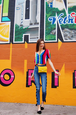 teen blogger, Kate Bartlett, colorful outfit, how to wear rainbow, colorful fanny pack