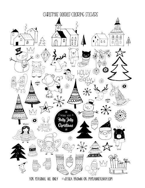 Free Printable Christmas Doodles Coloring Stickers on myplannerenvy.com