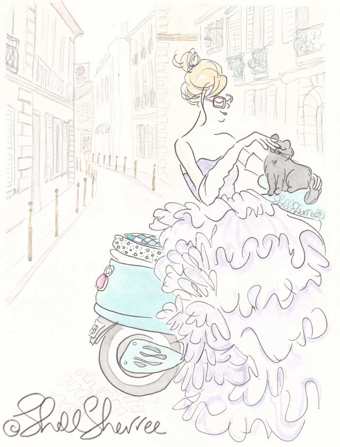 Paris Fashion and Fluffballs illustration: Turquoise Scooting and Ruffled Lilac © Shell Sherree