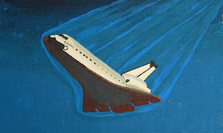 Partially finished painting of space shuttle Columbia during reentry