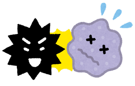 ウイルスに負ける細胞のイラスト