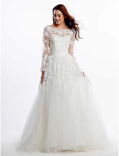 vestidos de novia con manga y encaje