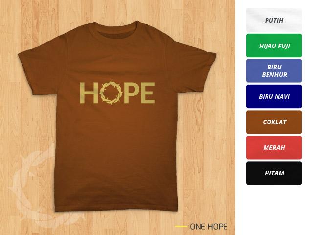 Tampilan kaos 'One Hope' berwarna coklat