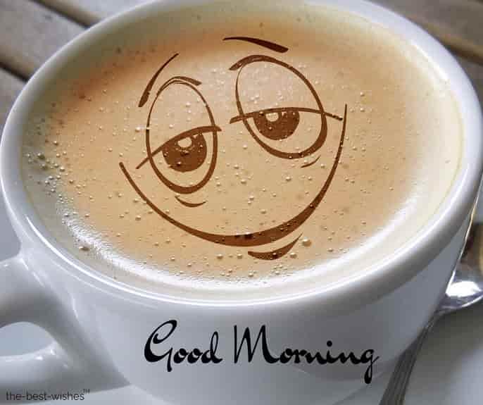good morning with cup coffee foam café au lait smile
