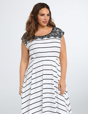 Striped Lace Trim Skater Dress Torrid