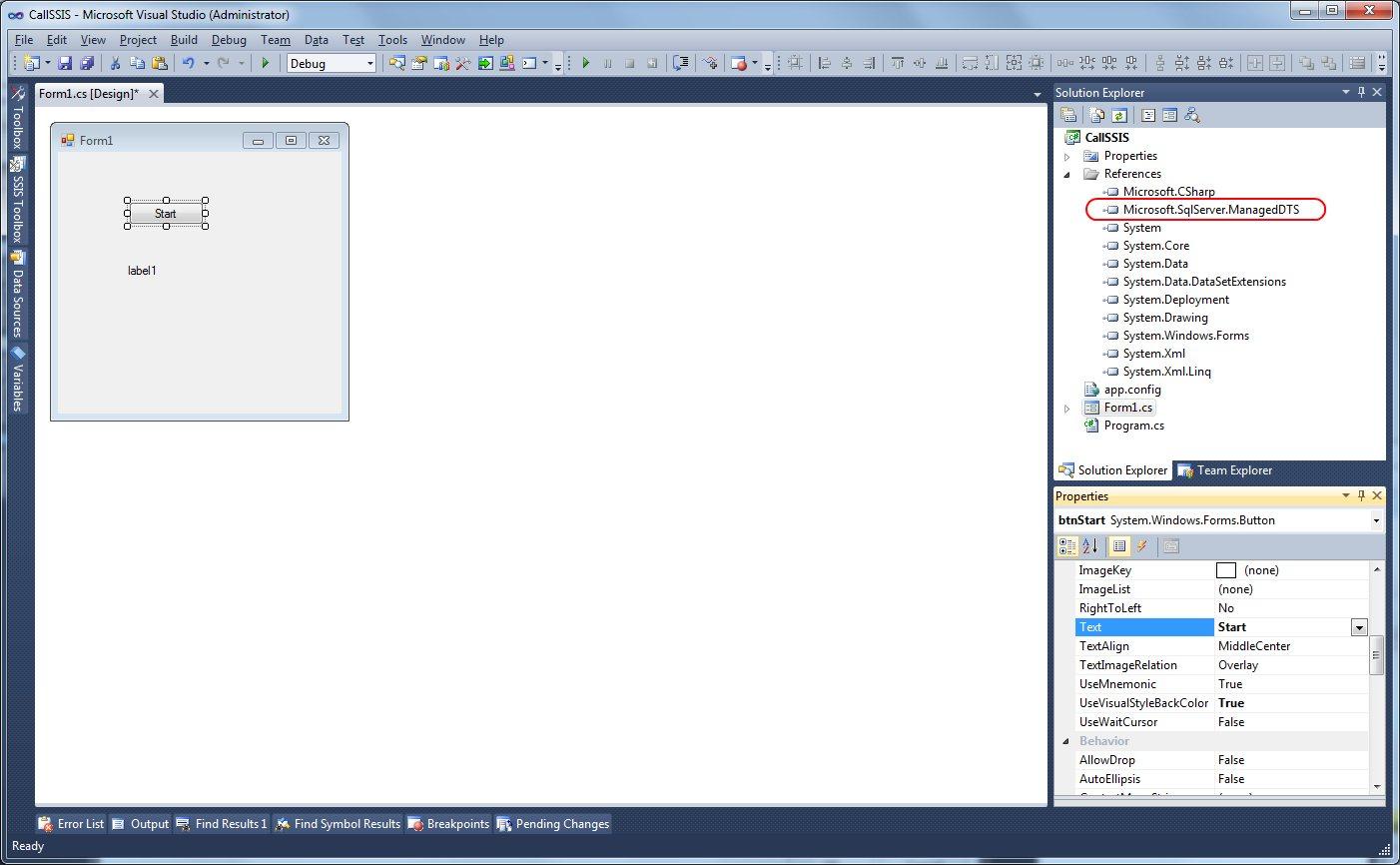 Microsoft SQL Server Integration Services: Call SSIS 2012