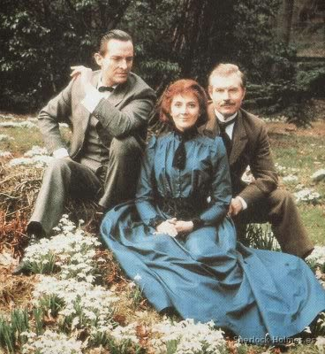 "Jeremy Brett as Sherlock Holmes with Natasha Richardson as Violet Hunter in ""The Copper Beeches"""