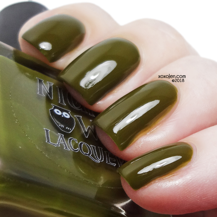 xoxoJen's swatch of Night Owl Lacquer Olive Me Loves Olive Fall