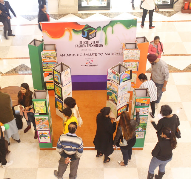 DLF Promenade Celebrates 68th Republic Day by a drawing exhibition by JD Institute of Fashion Technology