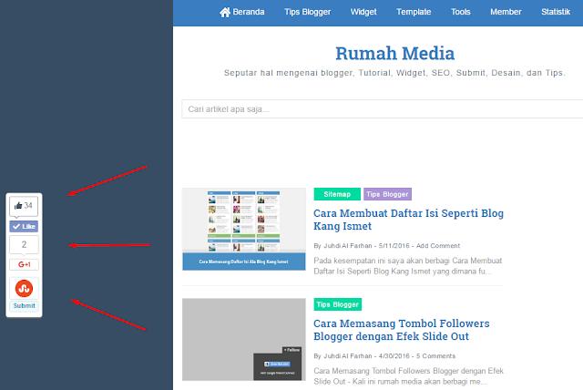 Membuat Widget Sosial Share Melayang di Sebelah Kiri Artikel