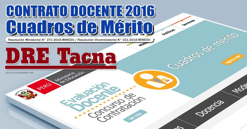 DRE Tacna: Cuadros de Mérito para Contrato Docente 2016 (Resultados 22 Enero) - www.educaciontacna.edu.pe