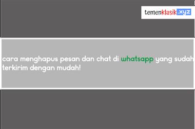 Cara menghapus pesan dan chat di whatsapp yang sudah terkirim dengan mudah