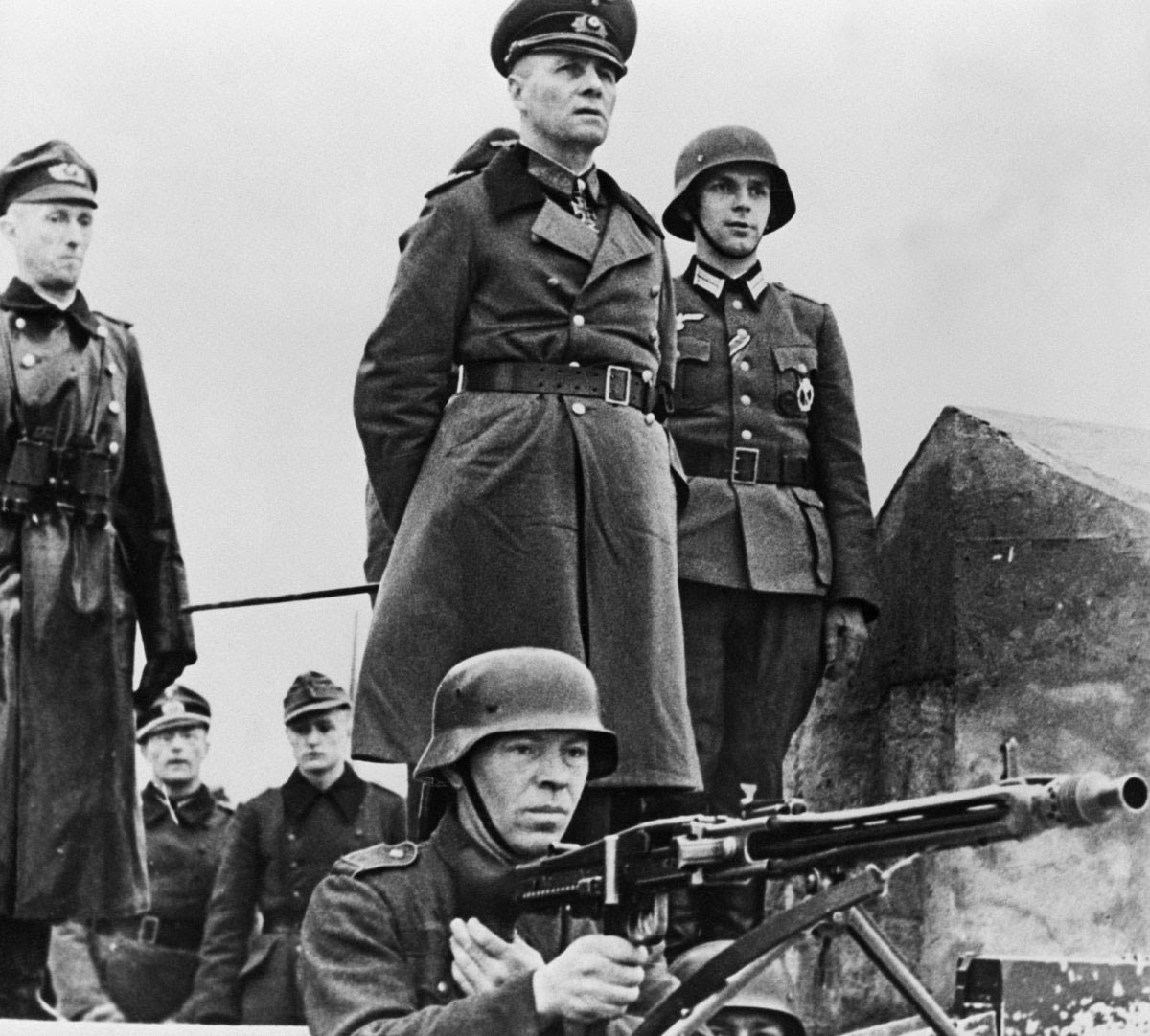 Field Marshall Erwin Rommel inspecting the beach defenses in Normandy, 1944
