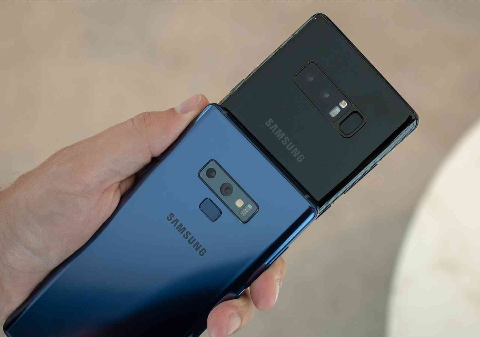 The Samsung Galaxy Note 9 and The Galaxy Note 8's Back Views.