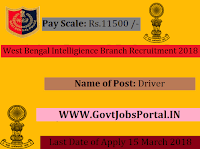 West Bengal Intelligience Branch Recruitment 2018- Driver