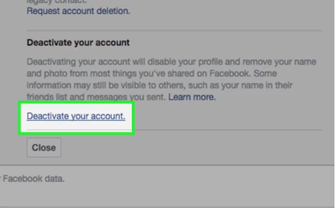 how do you deactivate a facebook account
