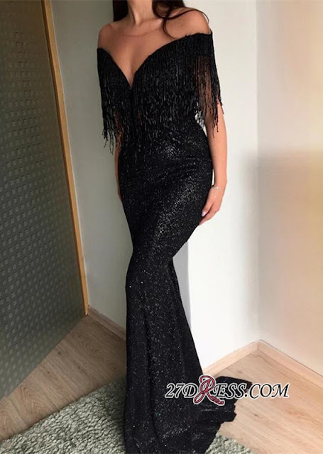 Sexy Crew Sequins Mermaid 2019 Evening Gowns | Tassel Long Black Prom Dress On Sale