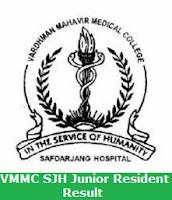 VMMC SJH Junior Resident Result