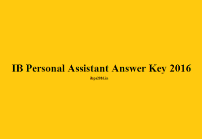 IB Personal Assistant Answer Key 2016