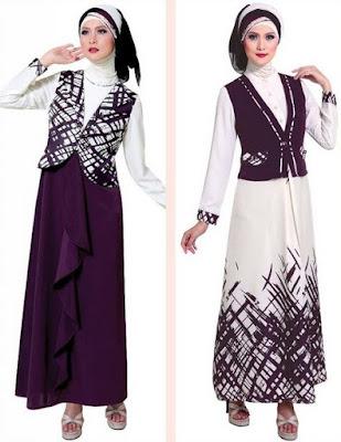 Model Gamis Batik Kombinasi Polos terbaru
