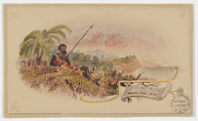 """Christmas Card design depicting an indigenous man with spear in scrub with the words """"A Merry Xmas and a Happy New Year""""."""